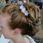 close up of girls updo hairstyle in serenity salon