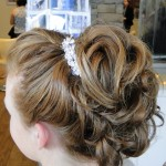 medium blonde hair with updo and flower pins