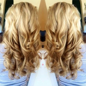 two back view images of long blonde curled hair