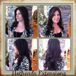 four images of brunette hair extensions