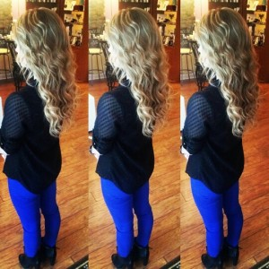three images of girl standing back to with long curly blonde hair