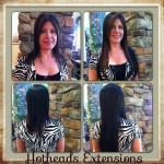 four images of woman before and after extensions at serenity salon