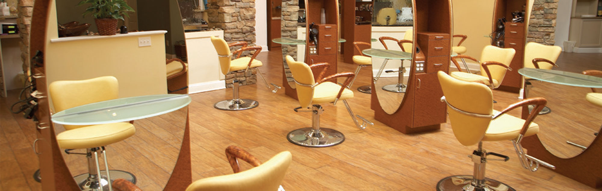 empty salon chairs and stations in serenity day spa